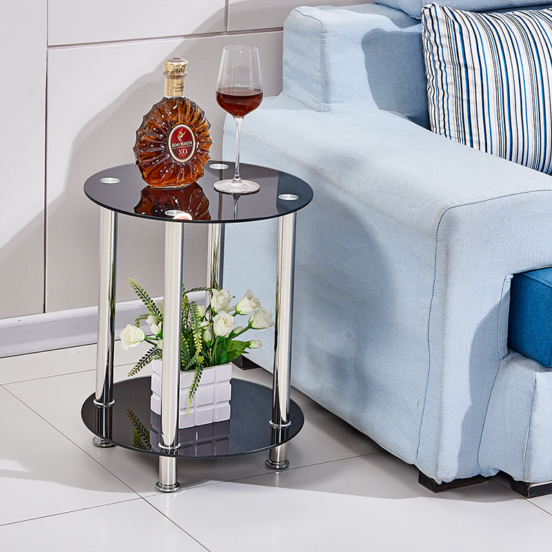 Black round corner side end table tempered glass steel coffee table living room ebay Black glass side tables for living room