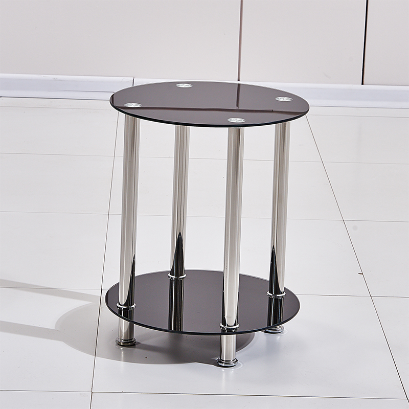 Black Round Corner Side End Table Tempered Glass Steel Coffee Table Living Room Ebay