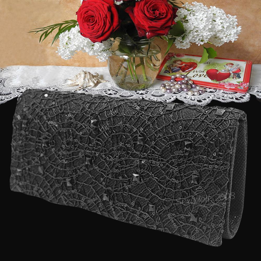 UK Women Sequins Handbag Wedding Bridal Evening Crossed Tote Clutch Bag Purse