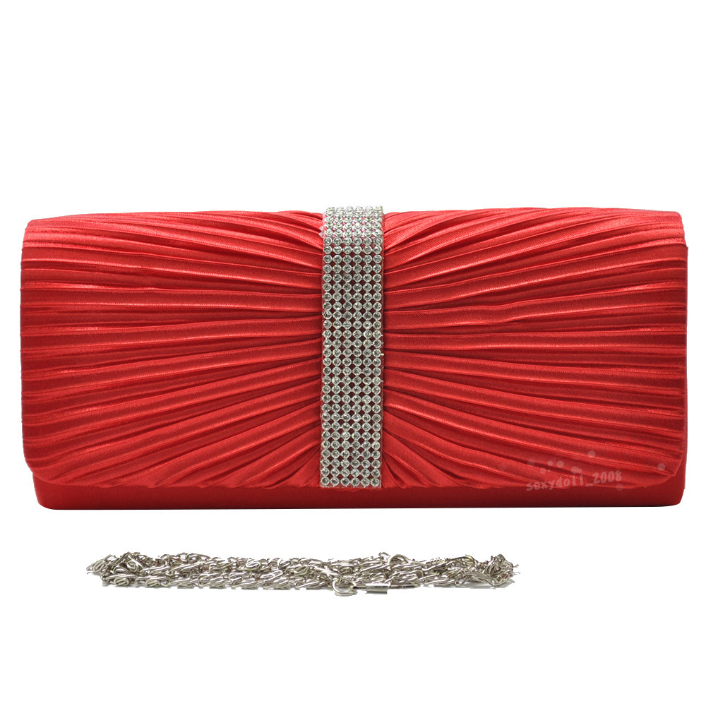 UK Wedding Satin Women Diamante Pleated Clutch Evening Bag Prom Handbags /&Chain