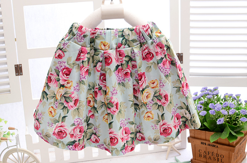 3pc Baby clothes kids infant girls summer outfits top Tee+necklace+dress floral