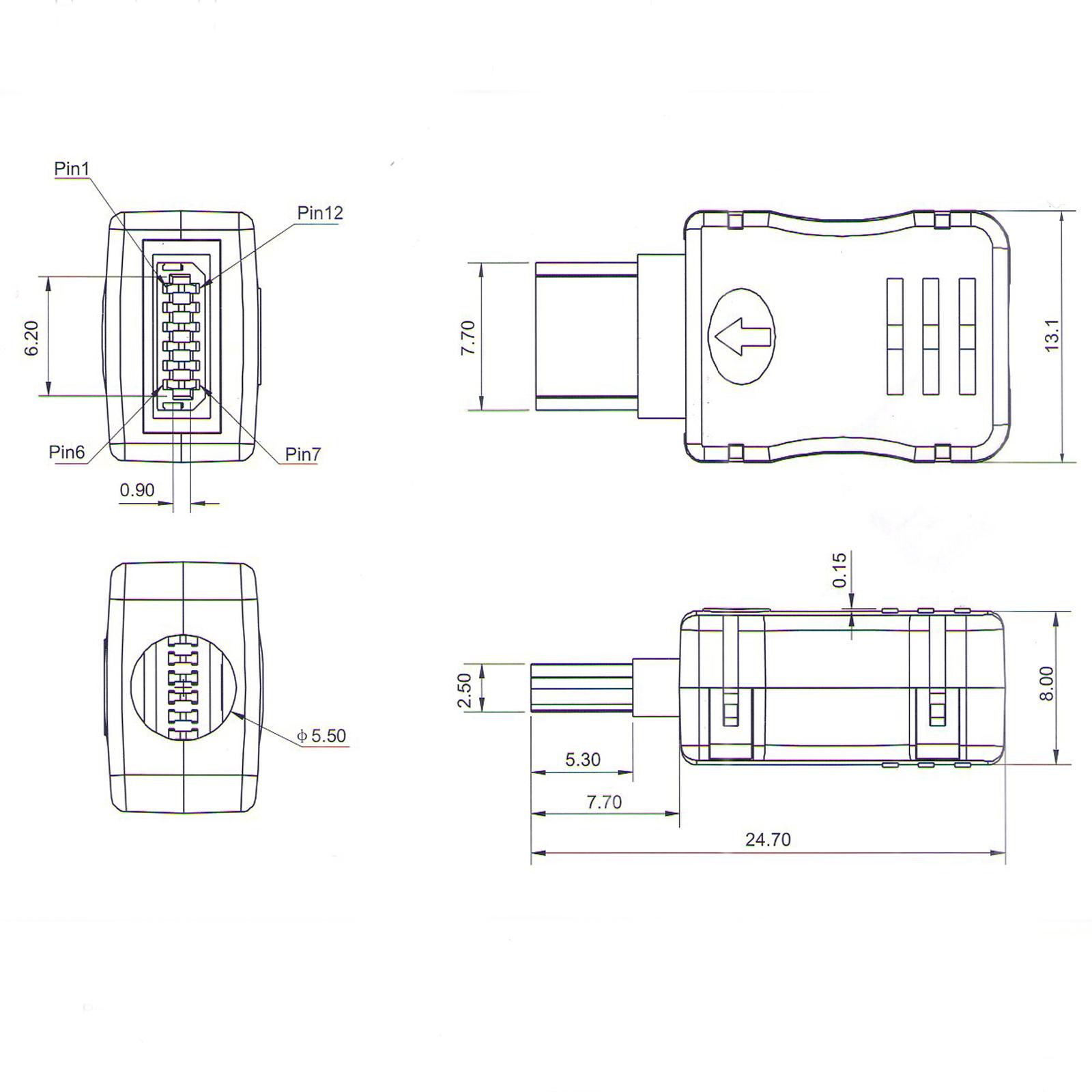8pcs mini usb 12 pin male plug connector for diy
