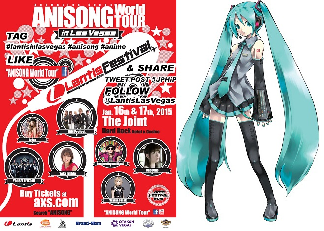 Lantis Festival at Las Vegas Adds Special Appearance by Hatsune Miku Virtual Singer to Join Anime Song Artists for Live Performance