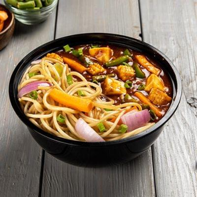 Schezwan Paneer With Choice Of Noodles Bowl image