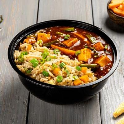 Schezwan Paneer With Choice Of Rice Bowl image