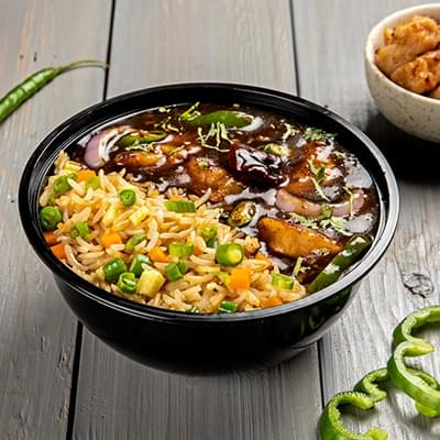 Chilli Chicken With Choice Of Rice Bowl image