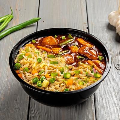 Schezwan Chicken With Choice Of Rice Bowl image