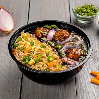Veg Manchurian With Fried Rice Bowl image