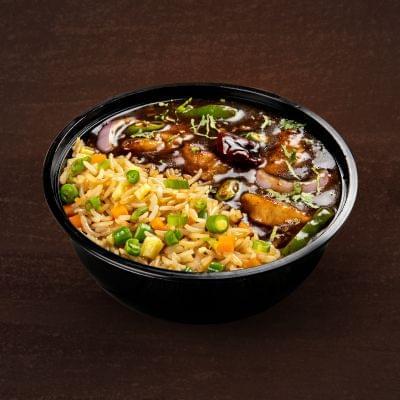 Chilli Chicken With Burnt Garlic Rice Bowl image