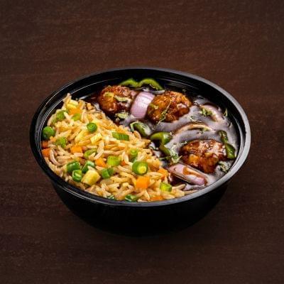 Veg Manchurian With Burnt Garlic Rice Bowl image