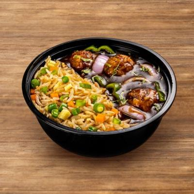 Chicken Manchurian With Egg Fried Rice image