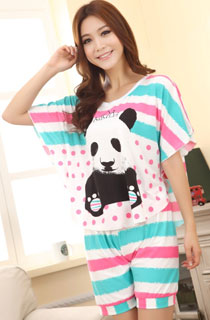 PANDA BLUE STRIPED SHORT SLEEVE CARTOON PYJAMAS