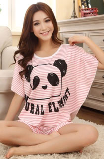 PANDA PINK SHORT SLEEVE CARTOON PYJAMAS