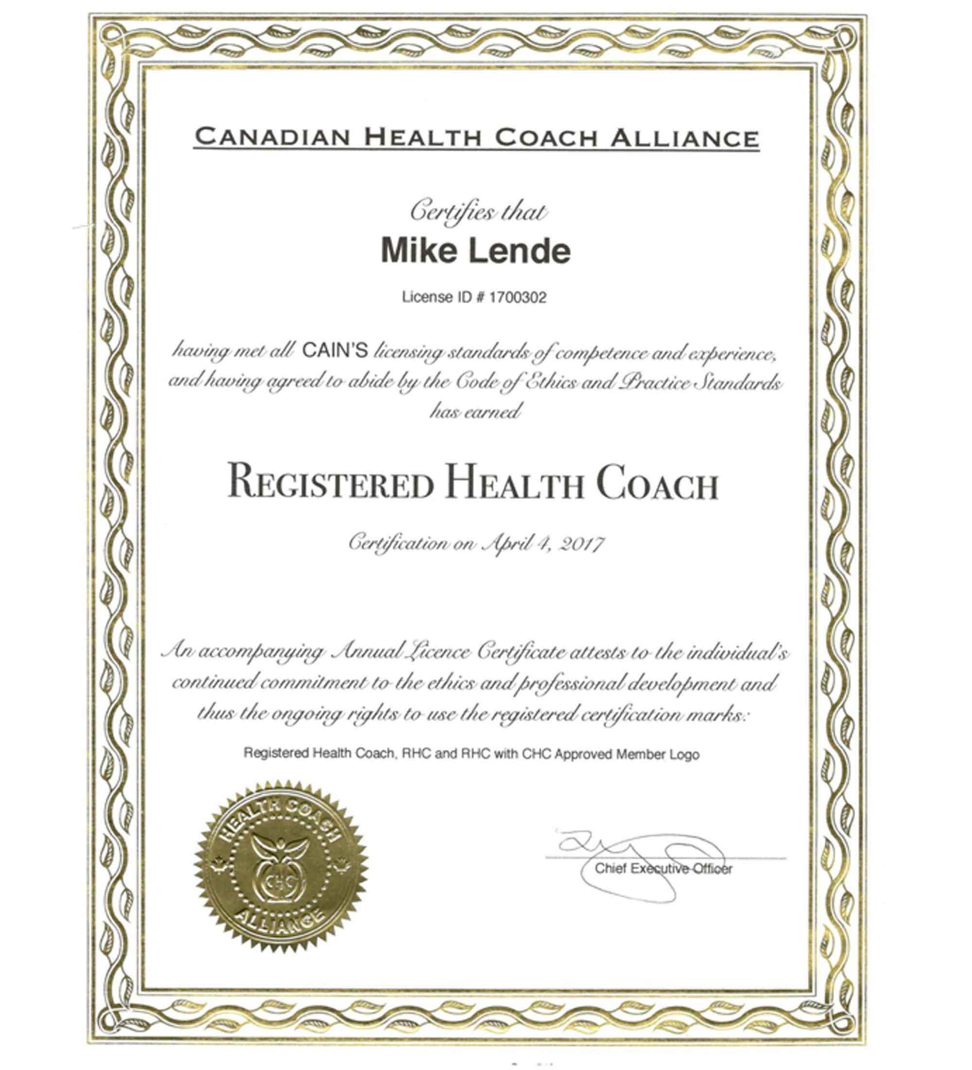 Mike Lende Health Coach Toronto Canada Men Sports Nutritionist