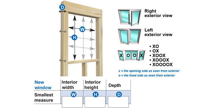 as shown in the illustration measure the window opening at three different locations for width height and depth if the three measurements are not the