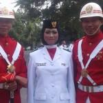 Siswi SMK Pangeran Antasari Oktaviani Dewi Sari Paskibraka mewakili  Kecamatan Labuhan Deli untuk Kabupaten Deli Serdang,   mengikuti upacara bendera memperingati Hari Ulang Tahun (HUT) Kemerdekaan ke-72 RI di lapangan alun-alun Pemkab, Lubuk Pakam, Kamis, (17/8).
