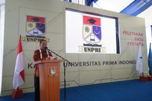 Menteri Riset, Teknologi dan Pendidikan Tinggi (Menristekdikti) Prof H Muhammad Nasir saat menyampaikan sambutannya pada acara peletakan batu pertama pembangunan kampus V UNPRI, yang terletak di Jalan Sampul Medan, Sabtu (26/8).