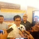 Kepala Kantor OJK KR 5 Sumbagut, Yusup Ansori saat menjawab pertanyaan wartawan di sela acara Sinergi Kantor OJK Regional 5 Sumbagut dan Media Partner Dalam Meningkatkan Literasi Fintech yang Akuntabel, Jumat (13/12).