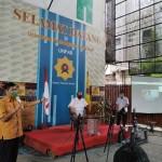 Rektor Unpab Dr H Muhammad Isa Indrawan, SE, MM saat melaunching Protokol Pencegahan Covid-19 berbasis Multi Viral Media, di Gelanggang Mahabento Kampus Tamadun Mandiri Unpab, Jalan Gatot Subroto Km 4,5 Medan, Sumatera Utara.