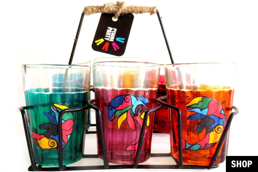 Home Decor Item 3 tier wood caddy with galvanized metal bands Hand Painted Cutting Chai Glasses