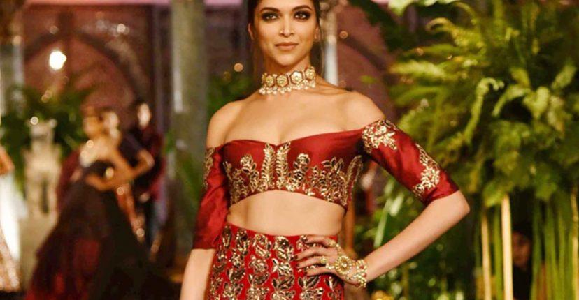 Deepika Padukone in a red bridal lehenga