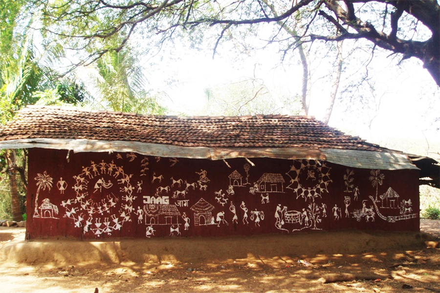 Warli art on village wall