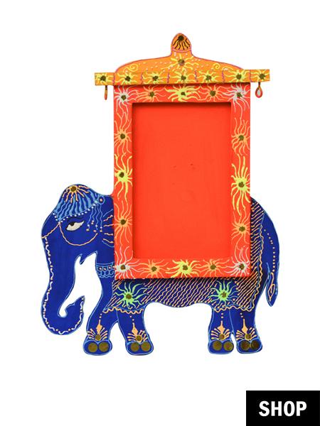 Handpainted elephant photo frame