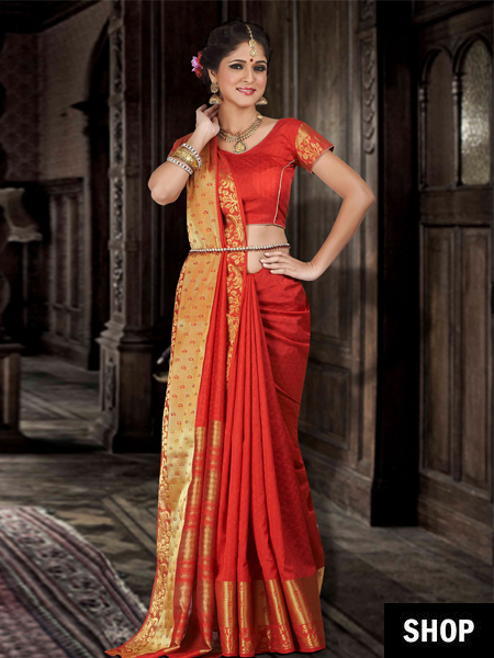 red silk bridal saree