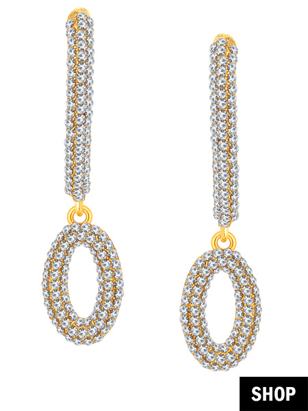 CZ drop earrings for round face