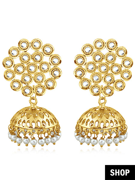 Golden jhumki for long and narrow face