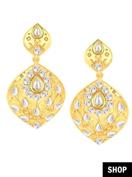 Golden leaf earrings for oval face