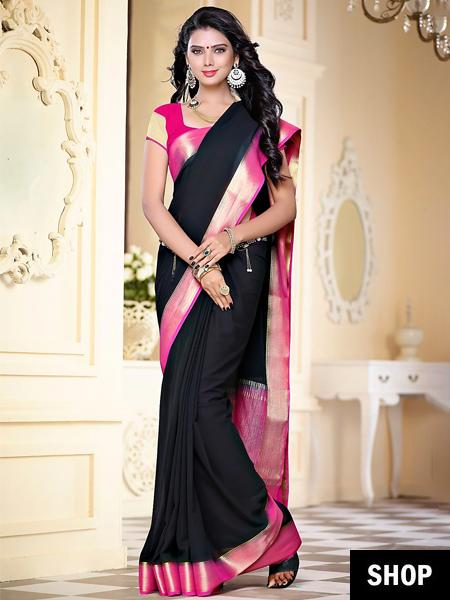 Dark colour saree