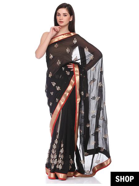 Black saree with golden border
