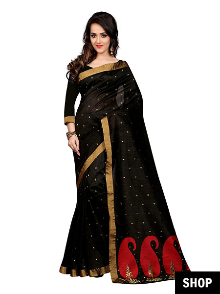 Black saree with golden embroidery