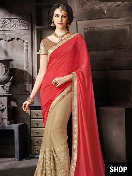 Half and half saree with peach pallu