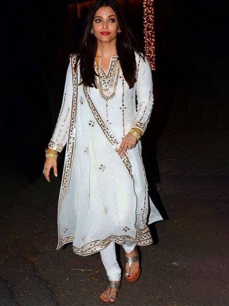Aishwarya Rai in white salwar suit