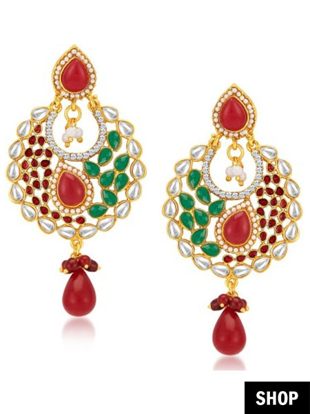 Objective Indian Ethnic Gold Tone Pearl Beads Chand Bali Earring Wedding Jewelry Beautiful And Charming Jewellery & Watches