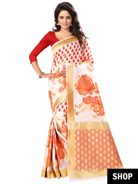 Red and white silk saree