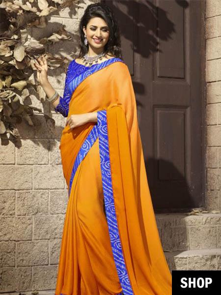 Orange and blue chiffon saree