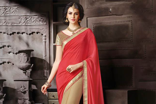 Half and half saree with peach pallu