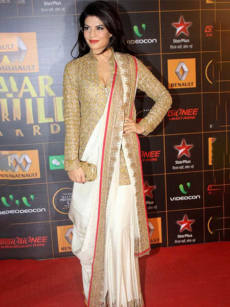 Jacqueline Fernandes in a jacket saree