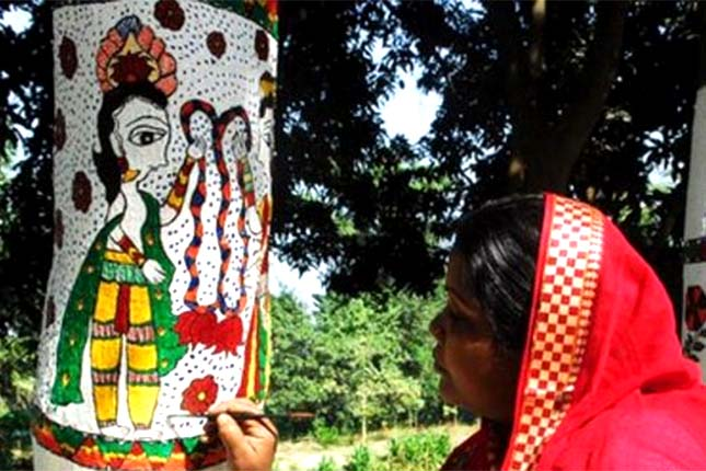 Madhubani art on trees