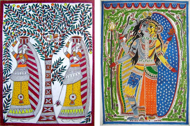 history of Madhubani paintings mythology