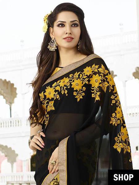 Floral border saree