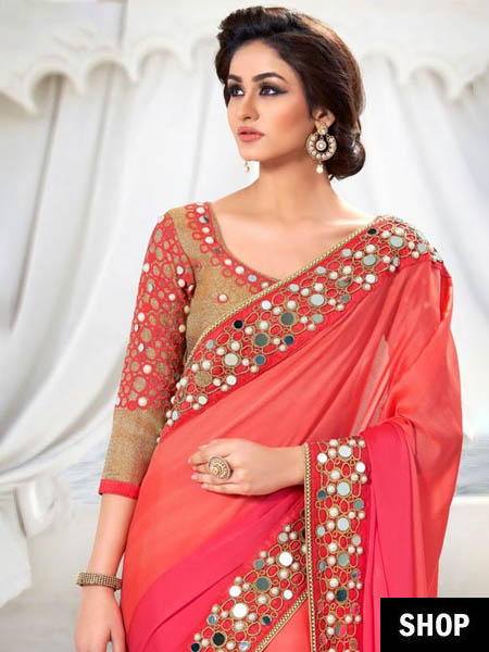 Mirror work saree border