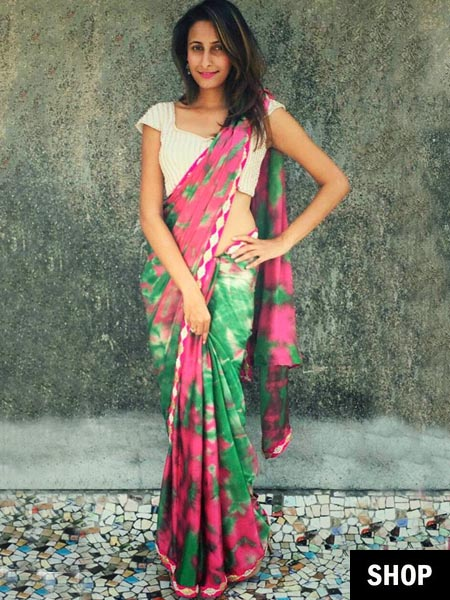Pink and green tie and dye saree for 2017 wardrobe