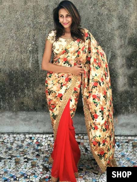 Floral sarees for 2017 wardrobe