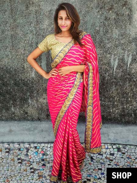 Pink saree for 2017 wardrobe