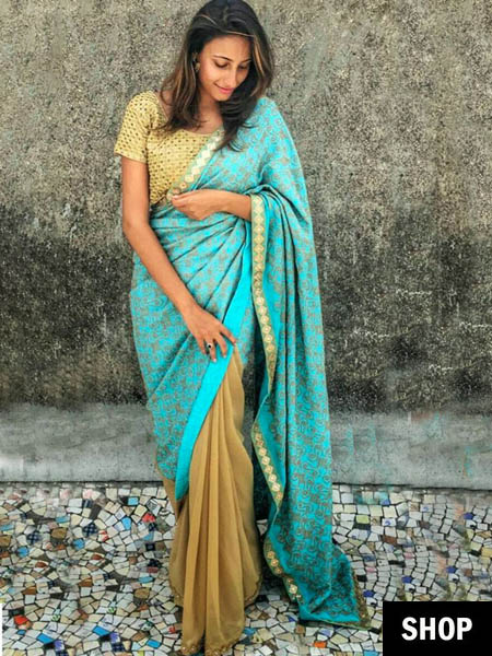 Blue saree for 2017 wardrobe