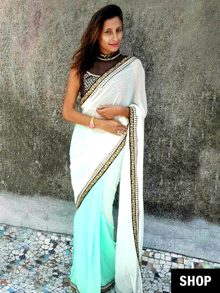 White and green saree for 2017 wardrobe